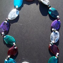 "30"" Multicolored distressed beaded necklace"