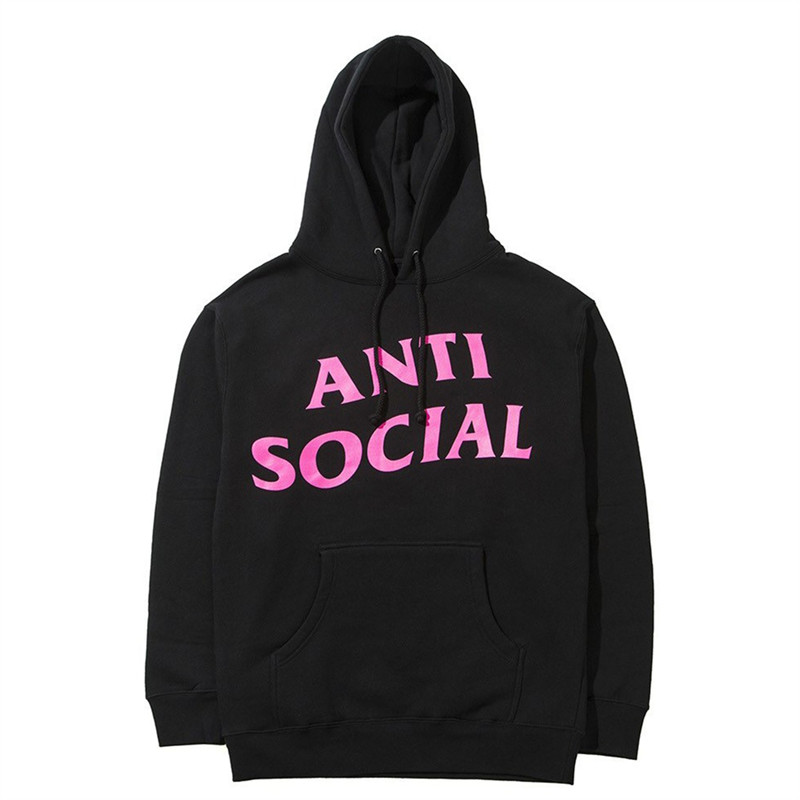 Anti Social Club Black Pink Print Hoodie