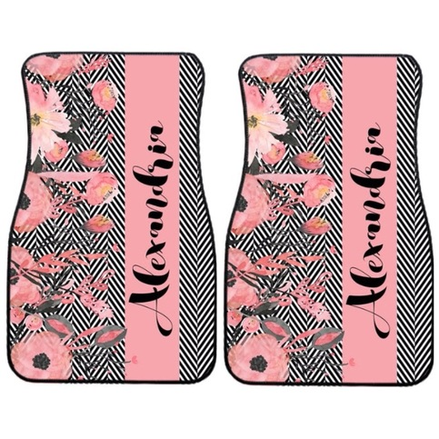 Herringbone And Floral Car Mats 183 Sassy Southern Gals