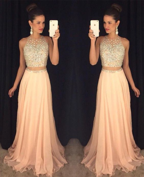 Chic Two-Piece Prom Dresses Crystals Coral Chiffon Sleeveless ...