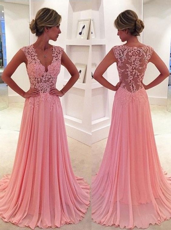 Modest Prom Dress,Classic A-Line V-Neck Floor Length Pink Prom Dress ...