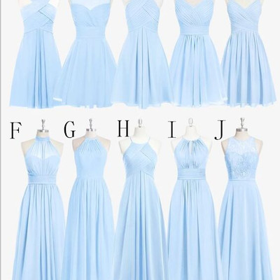Sky Blue Chiffon Lace Bridesmaid Dresses,Beach Bridesmaid Dresses ...