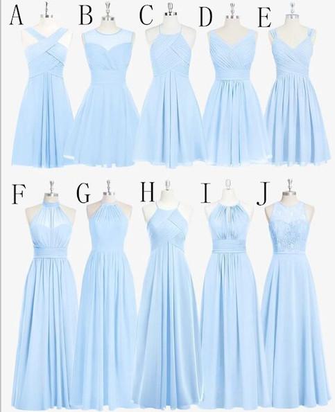 Sky blue chiffon lace bridesmaid dresses beach bridesmaid for Sky blue wedding guest dresses