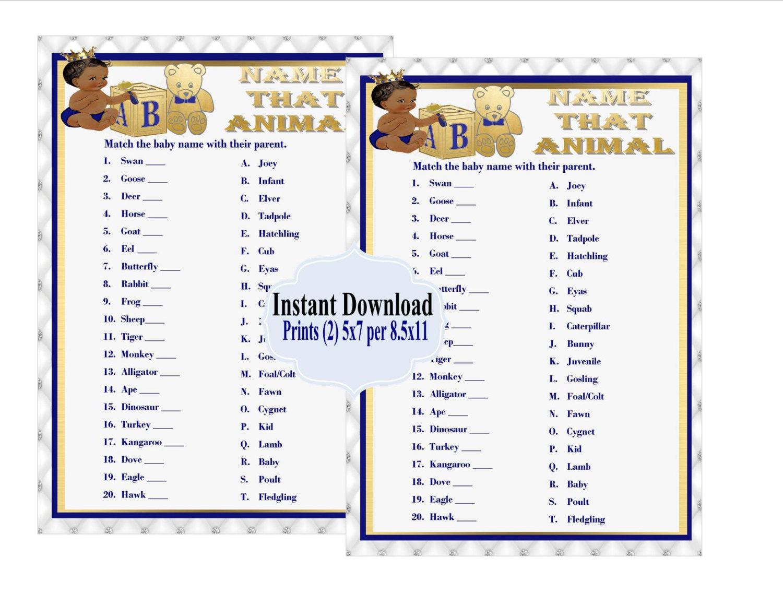 Printable Name That Baby Animal Game Royal Baby Shower Game Baby