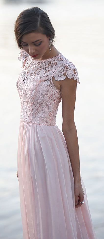 Pink Lace Prom Dress,Short Sleeve Prom Dress,Custom Made Evening ...