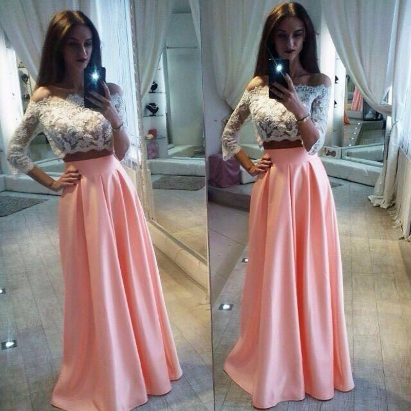 Ivory/ Pink Two Piece Prom Dress,Off The Shoulder Long Sleeve Formal Gown from dresschic