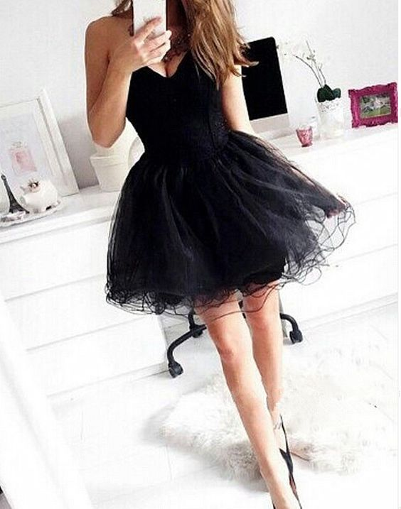 Little Black Tulle Party Prom Dresses 2017 New Style Fashion Evening