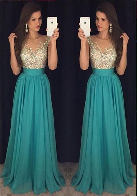 Elegant Beaded Prom Dressblue Prom Dressbackless Prom Dresseslong