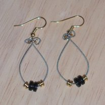 Black and Gold Dangle Guitar String Earrings