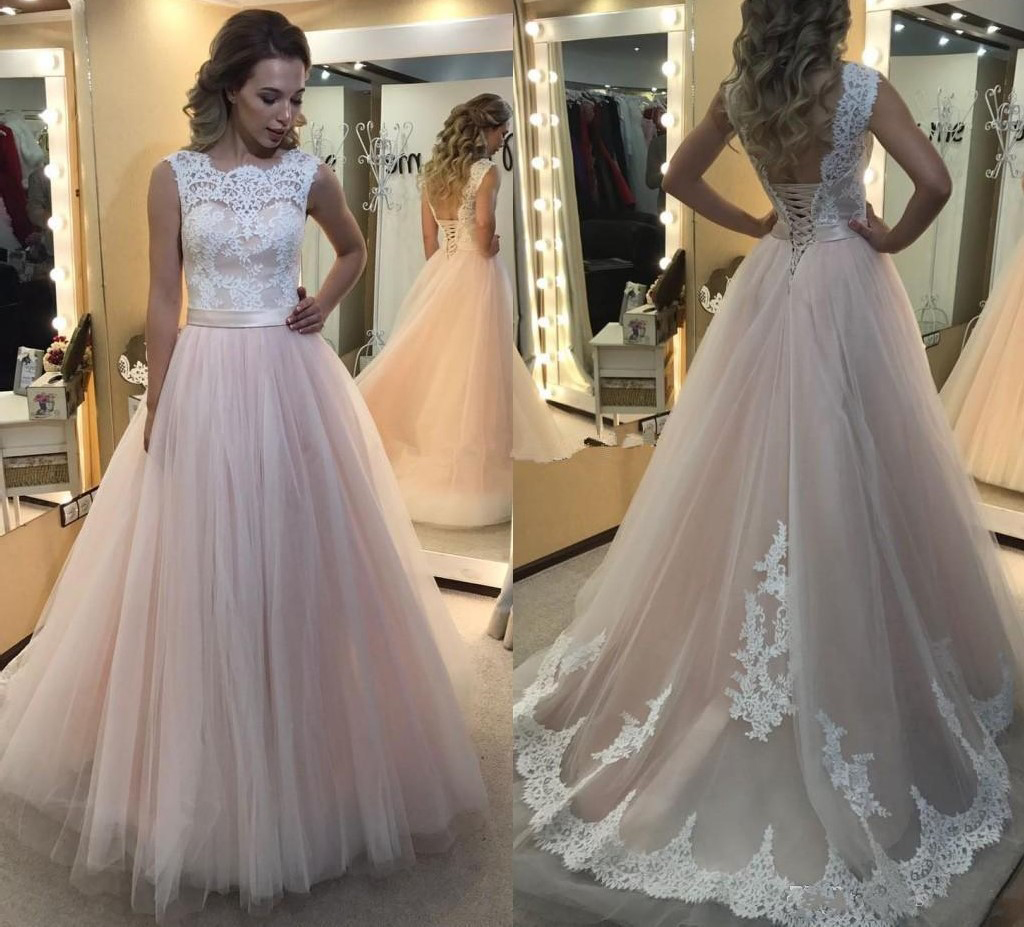 White Lace Light Pink Tulle Prom Dresses Chraming Sweet 16