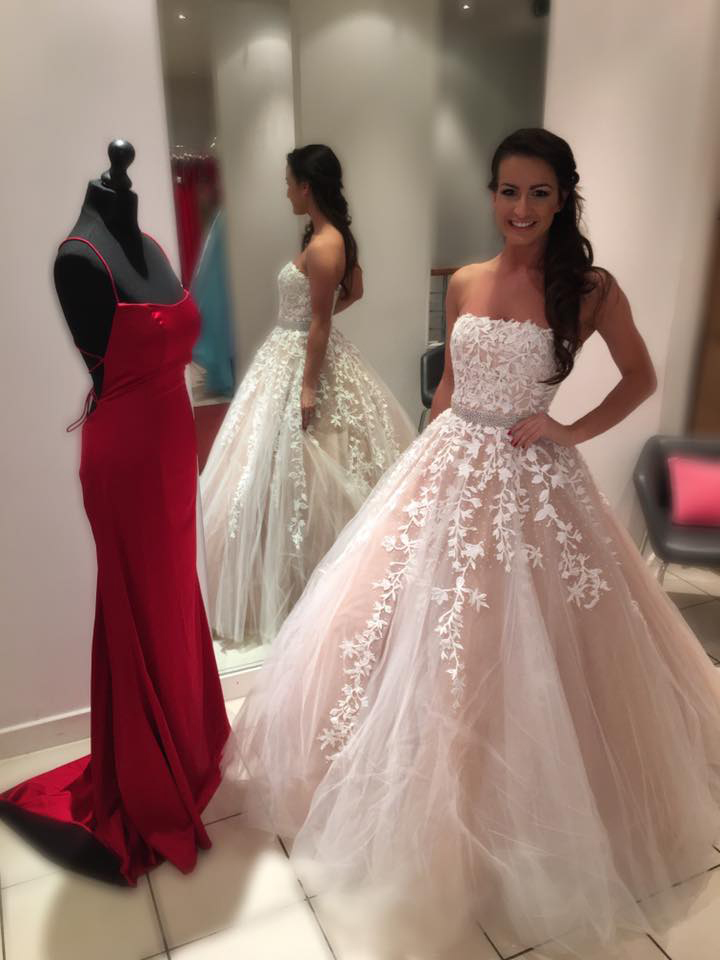 Strapless White Lace Appliqued Ball Gown Prom Dresses,Sweet 16 ...