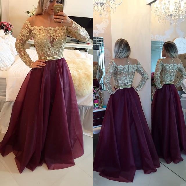 Gold Lace Grape Organza Prom Dresses with Long Sleeves,Long ...