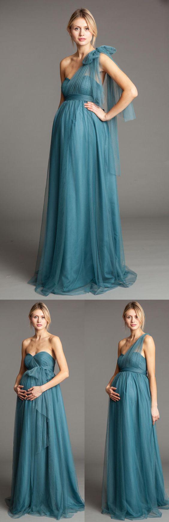 D266 One Shoulder New Fashion Long Pregnant Loaded, Light Blue ...