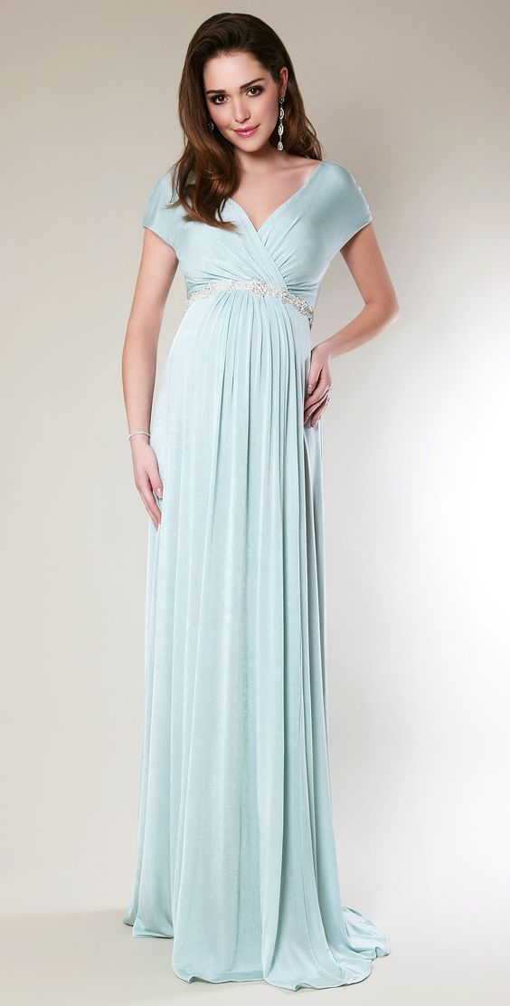 D270 Cap Sleeve Long Pregnant Loaded, Light Blue Chiffon Pregnant ...