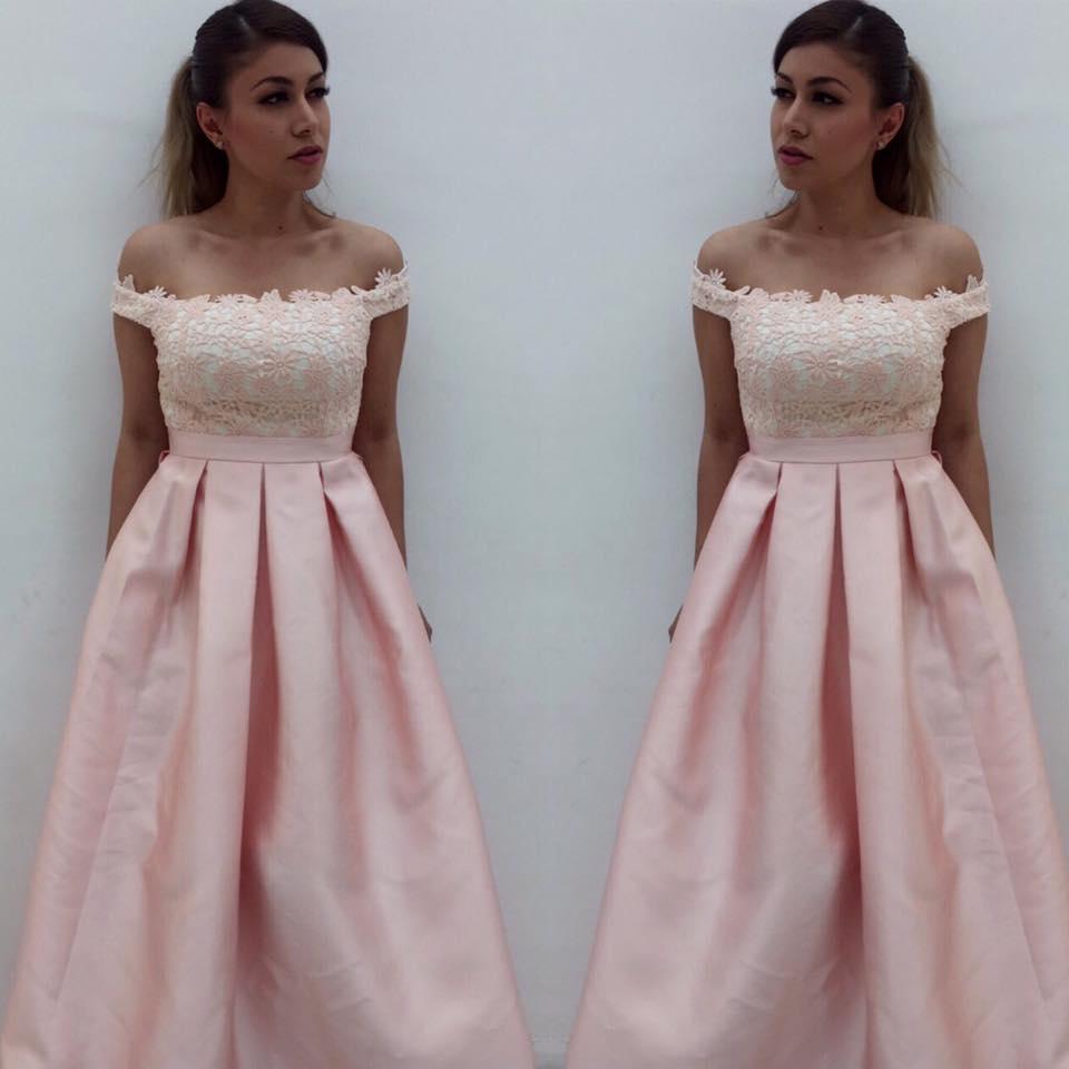Off shoulder pink satin prom dresses simple formal dresses for Simple pink wedding dress