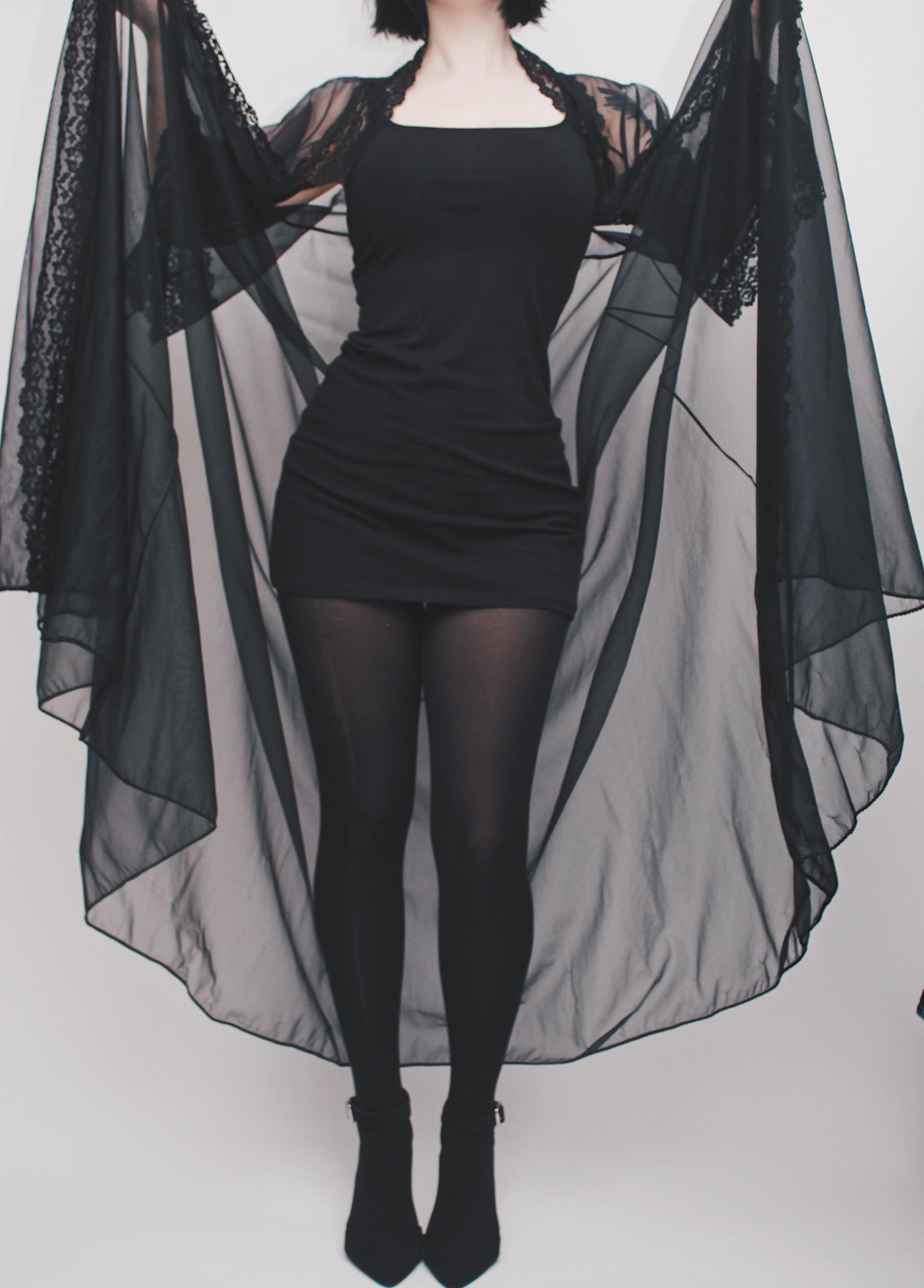 CLAIMED @aphonia - Vintage 1965 Sheer Black Bell Sleeve Dressing ...