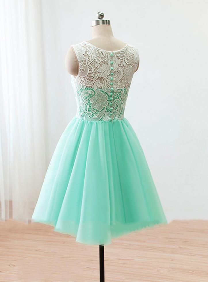 H62 Princess Ivory Lace Homecoming Dresses Mint Tulle Short ...
