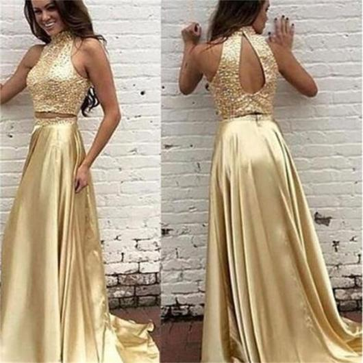 Two Pieces Prom Dresses,Gold Prom Dress,Off-shoulder Prom Dresses ...