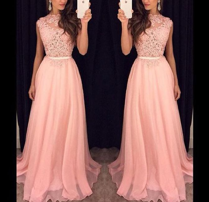 2017 Pink Prom Dresses Lace Chiffon Sleeveless A-line Evening Gowns ...