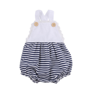 14c77468b98 Baby Toddler Navy and White Stripe Button Romper · Blush + Willow