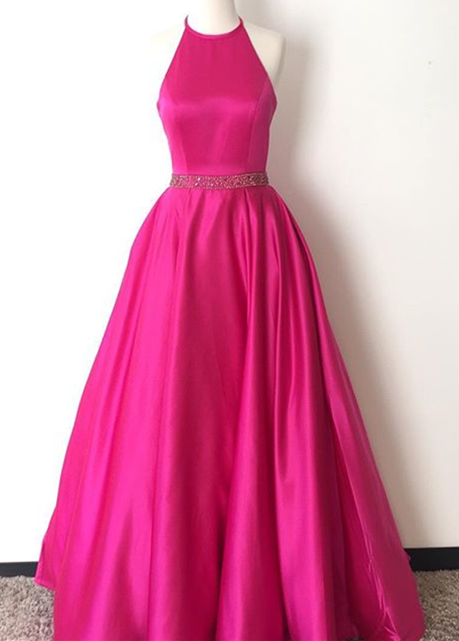 Hot pink satins O-neck A-line sequins long dress,graduation dresses ...