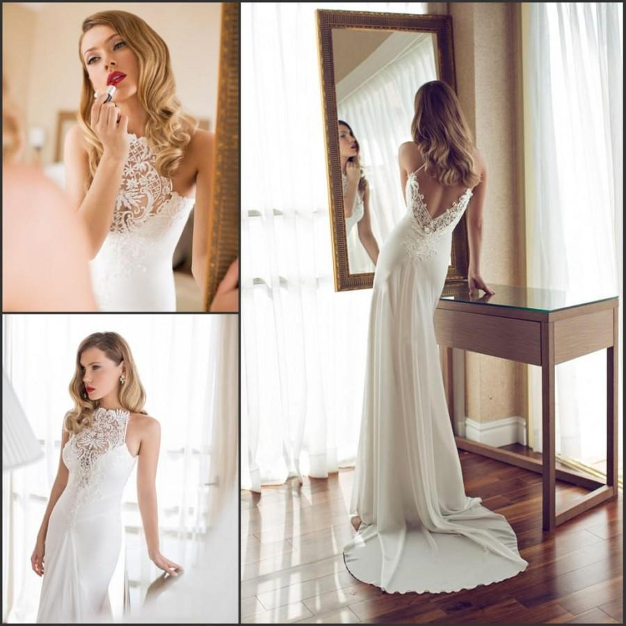 H256 Exquisite Wedding Dresses Backless Garden Sweep Train Lace ...