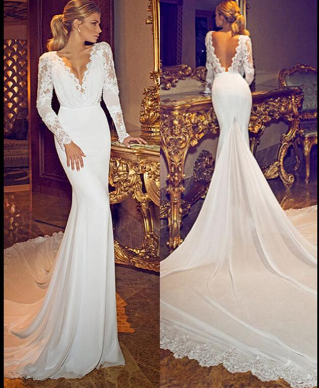A492 Chiffon Lace Deep V Neck Long Sleeves Wedding Gowns Open Back ...