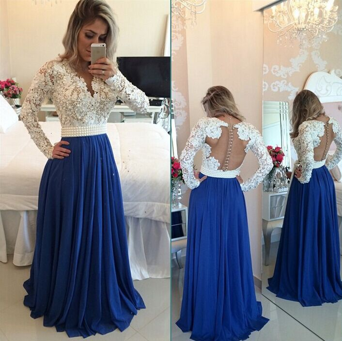 H304 Long Sleeves Lace Pearls Chiffon Prom Dresses V Neck White&Blue ...