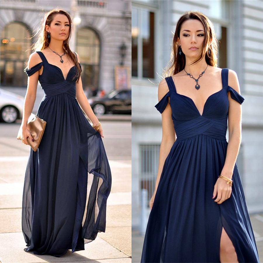 H335 2017 Prom Dress, Navy Blue Long Prom Dress with Side SLit ...