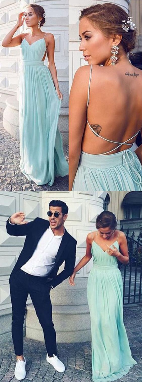 A-line Spaghetti Straps Backless Long Chiffon Prom Dress,Blue Long ...