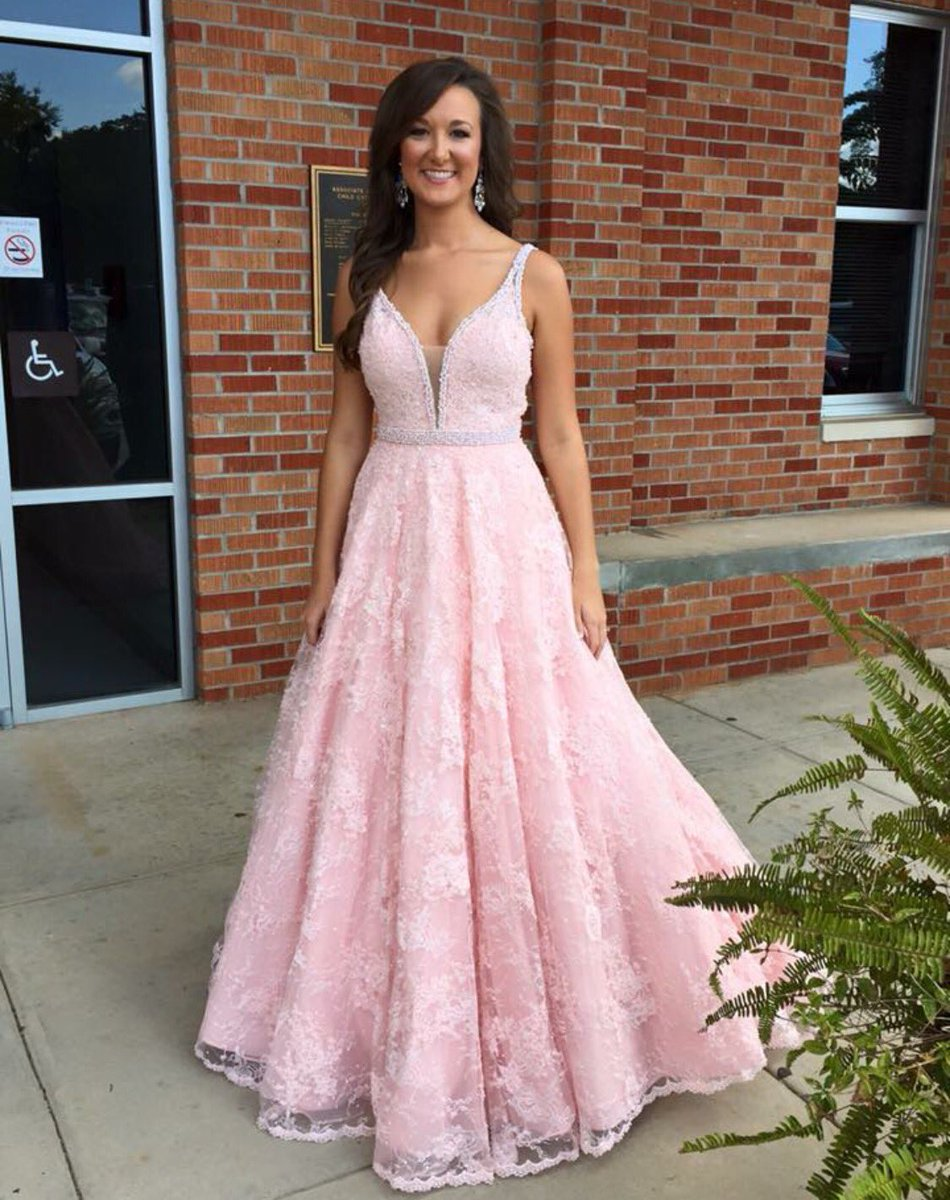 H394 Fashion A-line Long Pink Lace Prom Dress Evening Dress,Pink A ...