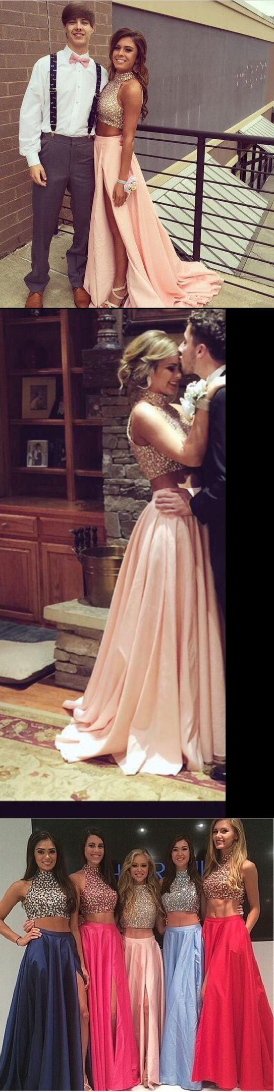 High Neck Two Piece Pink Taffeta Long Prom Dress,Front Slit Mid ...