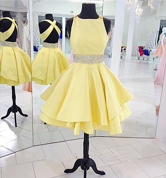 Cross Back Short Formal Dresses