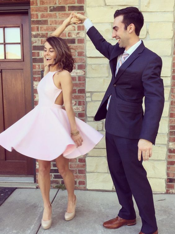Pink Short Homecoming Dress Short Cute Party Dress With Beading ...
