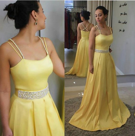 Yellow Strapless Prom Dress, Satin Pageant Gown,Party Dress ...