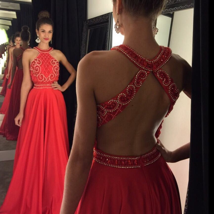 Halter Beaded Prom Dress,Open Back Prom Dress,Red Formal Dress,2017 ...