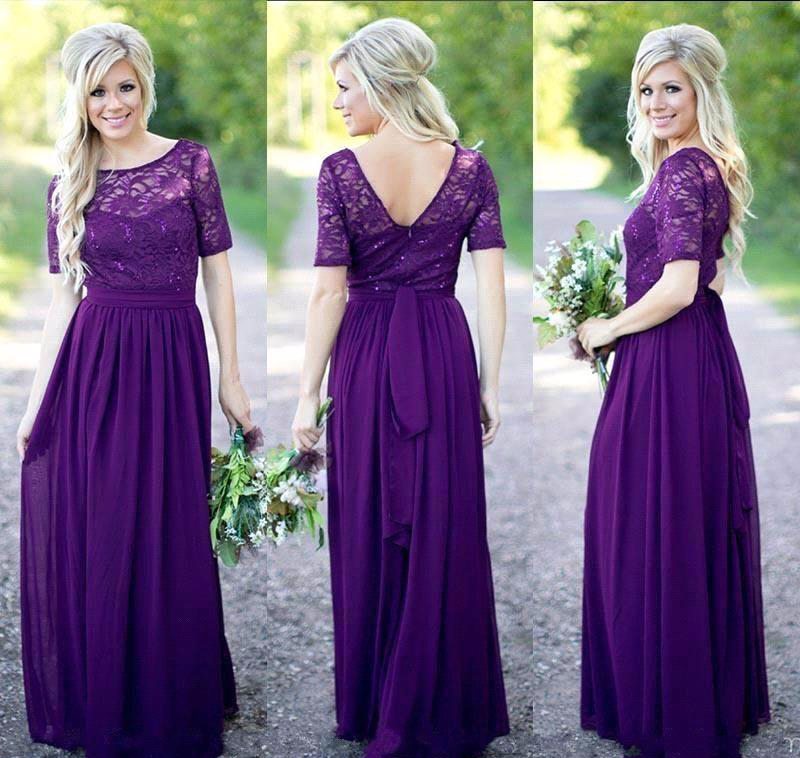 Lace top chiffon skirt bridesmaid dresses with short for Purple lace wedding dress