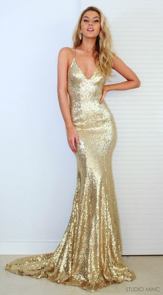 P193 New Gold Sequins Evening Gowns Hot Sexy Backless Prom Dresses