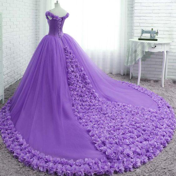 P235 Off The Shoulder Romance Wedding Dresses Handmade Rose Flower Princess Bridal Gowns