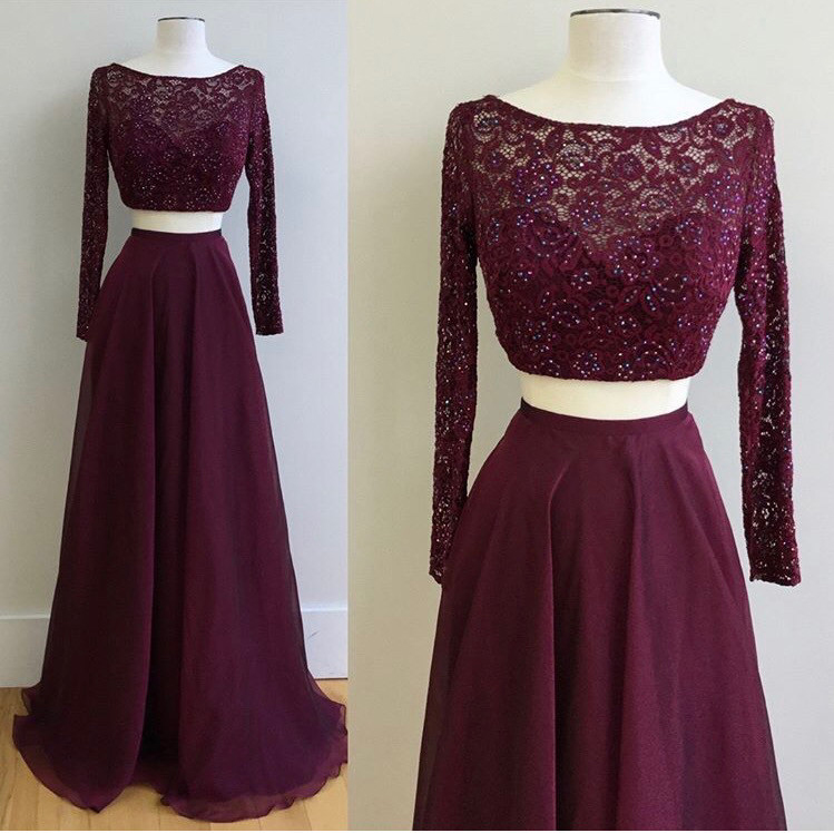 Lace Top Two Pieces Prom Dresseslong Sleeves Grape Prom Dressestwo