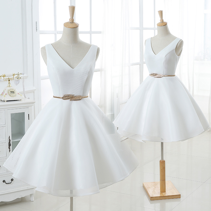 little cute cute white v neck short prom dress