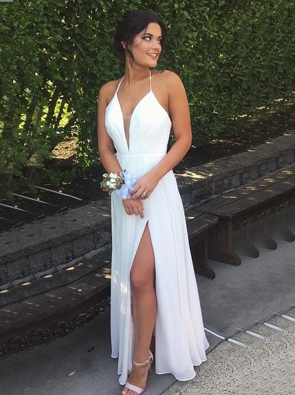 Simple Prom Dress,White A-line Halter Floor-length Chiffon Custom ...