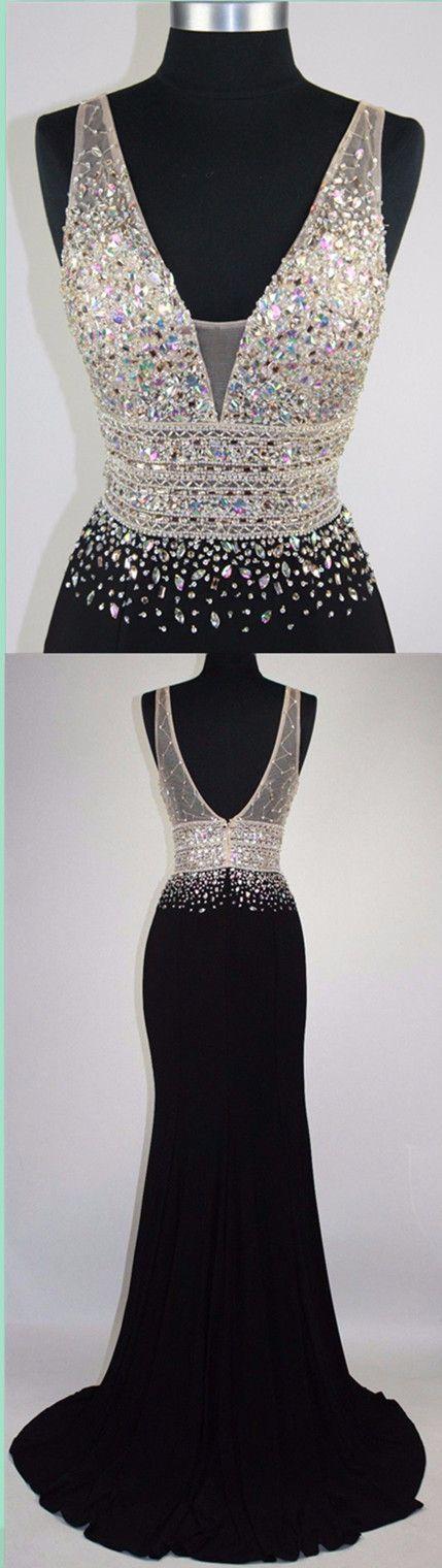 Beading Prom Dresses,Black Prom Dresses,Mermaid Prom Dresses,V-neck ...