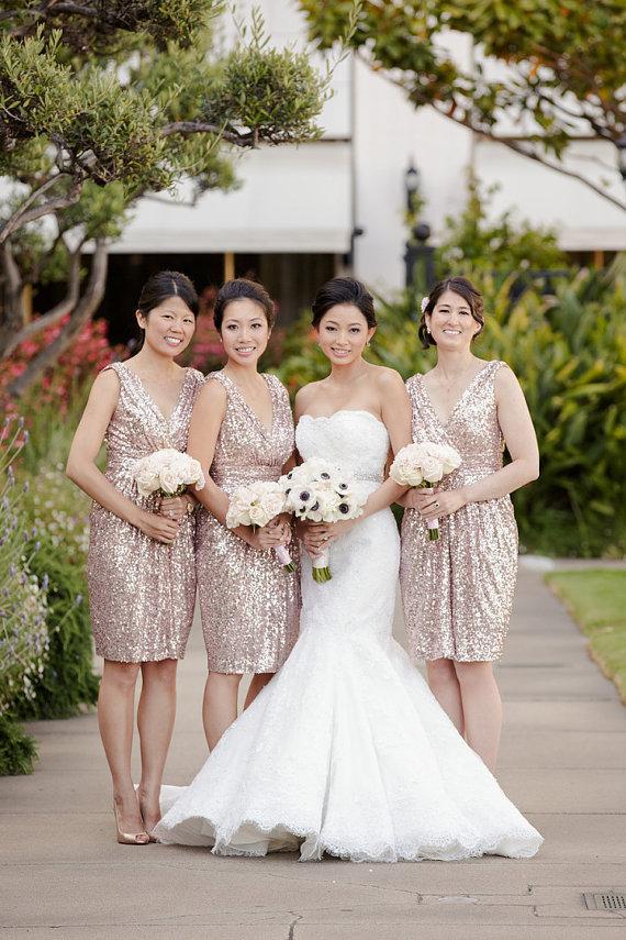 P254 Rose Gold Sequins Bridesmaid Dress, Long Bridesmaid Dress,2017 ...