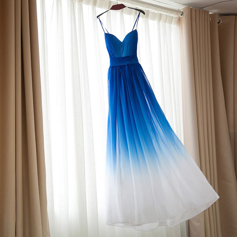Royal blue omre white bridesmaid dresses ombre dress for for Royal blue and white wedding dresses