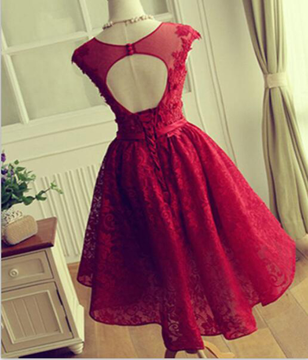 Red Lace homecoming dresses, lace prom dress, 2017 homecoming dress ...
