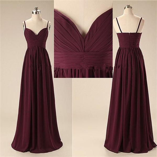 Simple Spaghetti Long Prom Dresses, Cheap Chiffon Prom Dress,Elegant ...