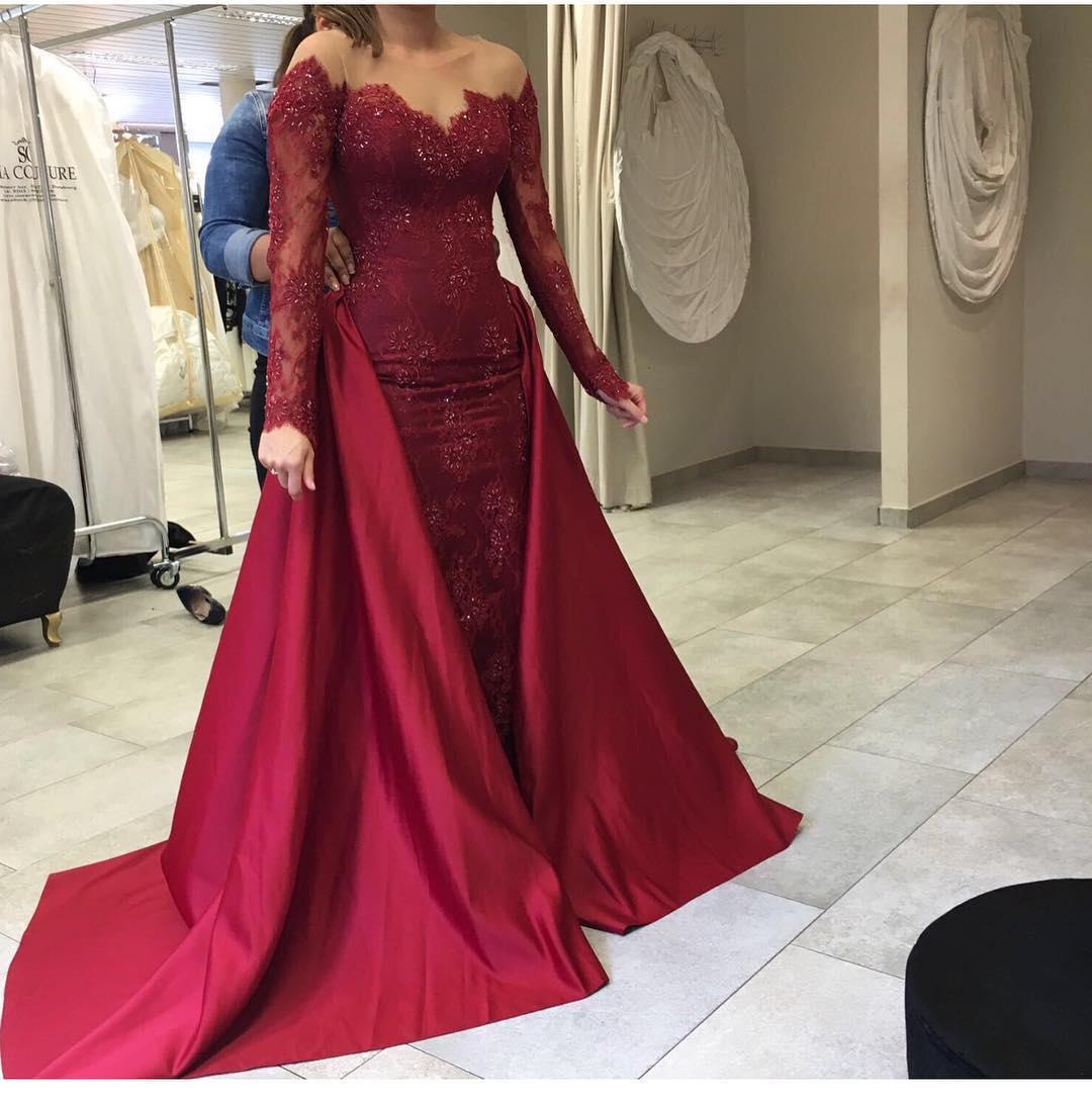 Long Mermaid Prom Dresses,Long Sleeves Prom Dresses,Burgundy Long ...