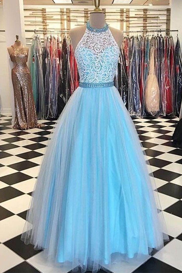 Halter Neck Floor Length Lace Prom Dress Party Dress · Promtailor ...