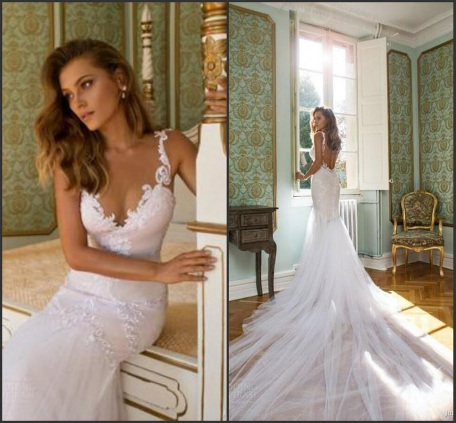 D274 Spaghetti Straps Wedding Dresses Open Back Tulle Garden Summer ...
